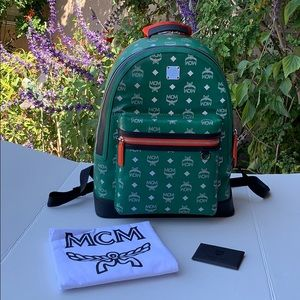 MCM New Visetos Weekender Green Leather Backpack